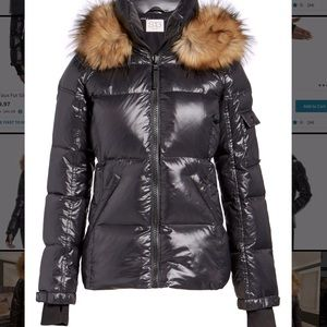 S13 Faux Fur Glossy Down Puffer Jacket Black Sz XL